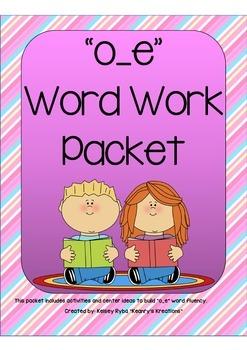 o_e Word Work Packet