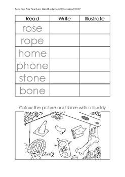 o_e 'magic e'/ 'long o' worksheets pack