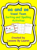 oa and oe vowel team sorting and spelling activities