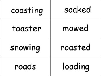 "oa and ow sounds ""Stack Attack"" card game"