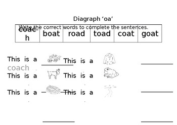 oa diagraph worksheet  pack of 5