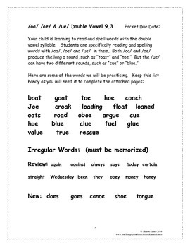 /oa/  /oe/ & /ue/ Double Vowel 9.3 Supplemental Homework Packet