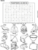 oa ow Vowel Team: Phonics Worksheet: Digraphs Word Search/ Coloring Sheet