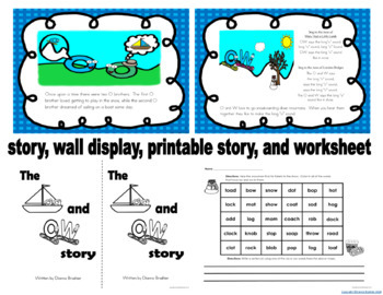oa ow story, wall sign, puzzle sort, word and picture sort