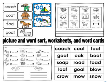 oa, ow Literacy Activities Bundle with Assessment