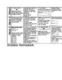 october math homework calendar