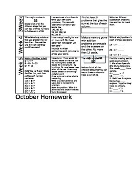 october math homework calendar