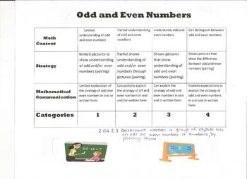 odd and even numbers 2nd grade rubric