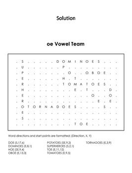 oe Vowel Team: Phonics Worksheet: Digraphs Word Search/ Coloring Sheet