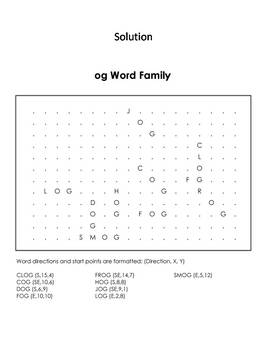 og Word Family Word Search/ Coloring Sheet (Phonics Worksheet)