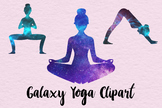Yoga Clipart, Galaxy Yoga Clipart, Galaxy Yoga Poses, 25 PNG Yoga Images