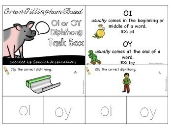 oi and oy Diphthongs Task Box (Orton-Gillingham)