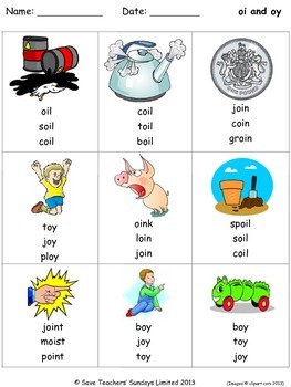 oi and oy phonics lesson plans, worksheets and other teaching resources