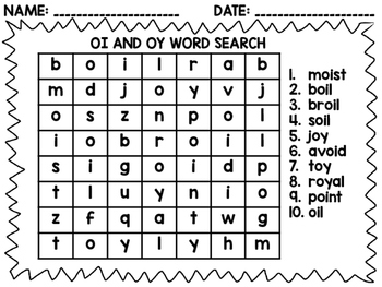 oi and oy word search