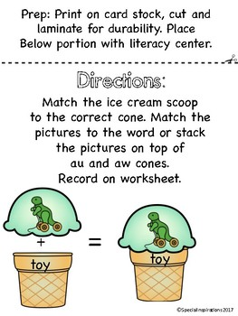 oi/oy Ice Cream Stack Phonics Literacy Center/Activity