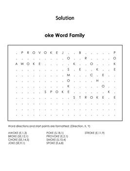 oke Word Family Word Search/ Coloring Sheet (Phonics Worksheet)