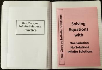 Solving Linear Equations With No Solution and Infinite Solutions (Foldables)