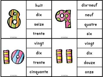 Nombres - 0-20 - jeu d'association #1 - French Numbers