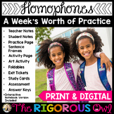 Homophones Lesson with a Week's Worth of Practice!