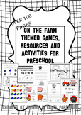 on the farm topic themed resources and activities for preschool, prek
