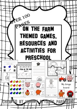 on the farm topic themed resources and activities for pres