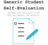 one-page student self-evaluation for any subject (can use