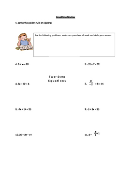 one step two step and multi step equations worksheet