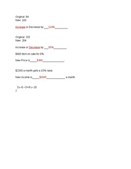 one variable, and percent increase or decrease test