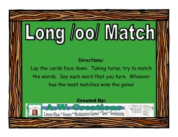 Long /oo/ Match Workstation Game or Small Group Activity