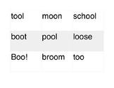 oo as in Boo! whole group sort