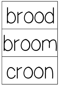 'oo' decodable word cards