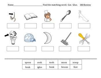 "oo diphthong practice worksheets- words with ""oo"""