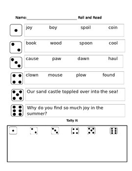 oo, oi, oy, ow, ou, au, and aw phonics partner reading game