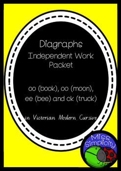 oo oo ee ck  DIGRAPHS INDEPENDENT phonics pack  VIC MOD CURSIVE