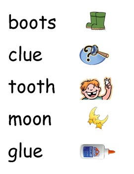 oo, ou, ew, & ue Picture/Word Sort