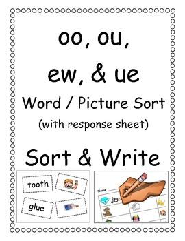 oo, ou, ew, & ue Picture/Word Sort