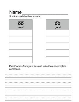 """""""oo"""" vowel team worksheet"""