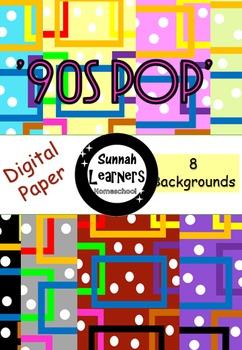 '90s PoP' 8 digital paper/backgrounds'
