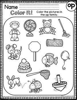 op Word Family Worksheets