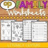 OP Word Family Worksheets - OP Family Worksheets - OP Worksheets