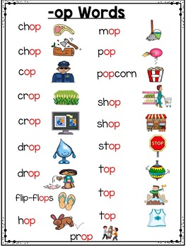 op Word Family Worksheets - All About op!