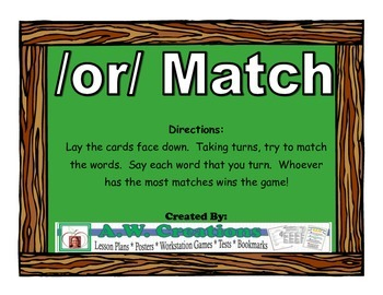 /or/ Match Workstation Game or Small Group Activity
