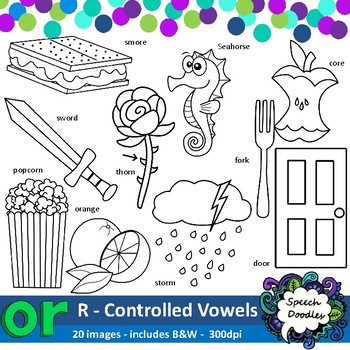 Or clipart - 20 images! R controlled vowel - vocalic r clipart