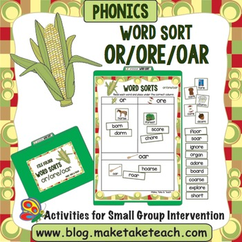 or oar ore Word Sort- File Folder Word Sorts