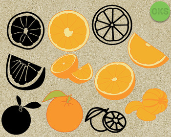 orange, fruit SVG cut files, DXF, vector EPS cutting file instant download