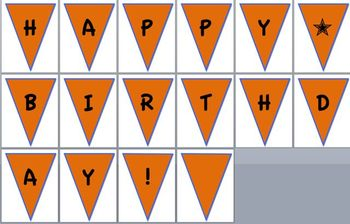 orange/blue happy birthday pennant banner