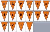 orange/blue happy birthday pennant banner