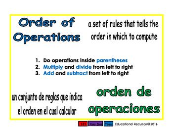 order of operactions/orden de operaciones prim 1-way blue/verde