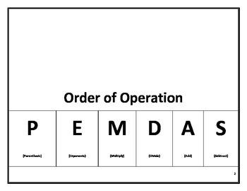 order of operation/ PEMDAS