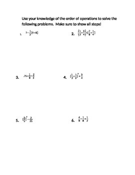 order of operations with rational numbers 2